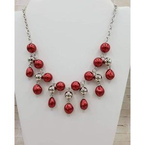 Paparazzi Red & Silver Necklace & Earrings